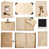 Antique Grungy Paper Sheets, Books And Photo Frames