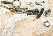 Old Handwritten French Letters And Postcards, Vintage Office Accessories