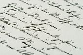 Vintage Handwriting. Antique Manuscript. Aged Paper