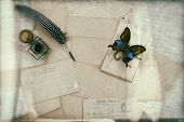 Old Letters, Vintage Postcards And Antique Pen