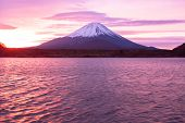 Mount Fuji and  Lake Shojiko at sunrise