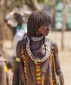Hamar Woman At Village Market.