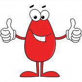 Happy red cartoon character