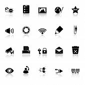 General Computer Screen Icons With Reflect On White Background