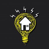 creative home icon on sketch bulb design vector