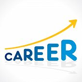 creative career word growth graph vector