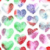 Watercolor hearts seamless pattern on white background for wedding