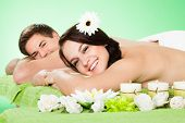 Happy Couple Relaxing In Beauty Spa