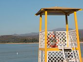 Yellow Lifeguard Tower On Beach