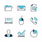 Office simple vector icon set