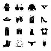 Retro Clothes Symbols Accessories Icons Set Trendy Modern Silhouette Design Template Vector Illustra
