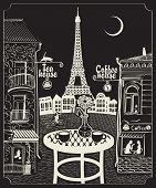 pic of moon-flower  - Figure Parisian cafe with a view of the Eiffel Tower at night under the moon - JPG