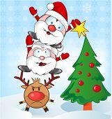 Santa Claus Whit Reindeer Cartoon