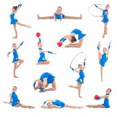 Collection Of Little Girl In Blue Doing Gymnastics Isolated On White