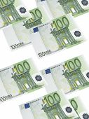 One Hundred Euro Bill Collage Isolated On White