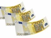 Two Hundred Euro Bill Collage Isolated On White