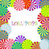 Color lollipops background. Vector illustration.