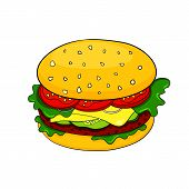 Vector cartoon hamburger icon