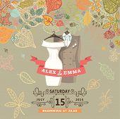 Wedding invitation.Wedding wear,autumn leaves
