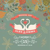 Wedding invitation with swans,autumn leaves