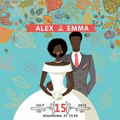 Cute wedding invitation.Mulatto groom,bride,autumn leaves