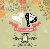 Cute wedding invitation with stylized heart ,autumn leaves