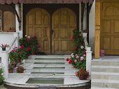 Door with flower
