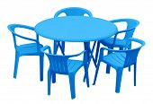 Plastic Table And Chairs - Blue