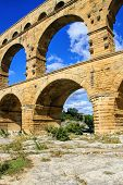 pic of aqueduct  - Roman aqueduct at Pont du Gard France UNESCO World Heritage Site - JPG