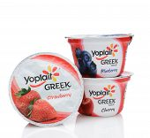 Three Yoplait Greek Yogurt