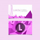Low Poly Business Card Template With Alphabet Letter L