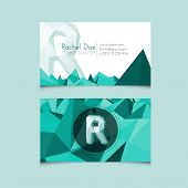 Low Poly Business Card Template With Alphabet Letter R
