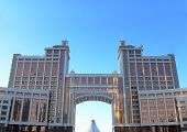 Panorama Of Office Buildings In The Center Of Astana. Kazakhstan.