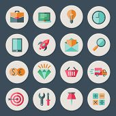 Business And Commerce Flat Design Icons Set