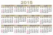 Usual Calendar For 2015 Year