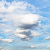 White And Grey Cumulus Clouds In Blue Autumn Sky