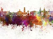 Aberdeen Skyline In Watercolor Background