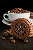 Cocoa Cookies With Coffee Beans