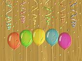 Confetti Relief Painting On Generated Wood Texture Background