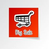 Big Sale With Shopping Cart Sign, Sticker Label