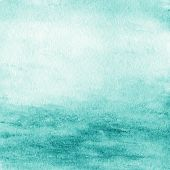 Abstract  Watercolor Background. Blue Green Water Color Like Sea On Old Paper Texture Background