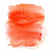 Colorful Orange Wet  Spot, Watercolor Abstract Hand Painted Textured Background Isolated On White. W