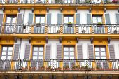 San-sebastian. Facade Of Dwelling-house On An Area Constitutions