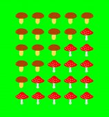 Mushrooms rating scale on green background