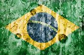 Brazil Flag On A Weathered Grunge Backckground