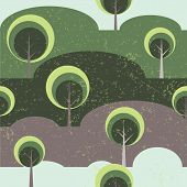 Trees on glade seamless vector pattern background