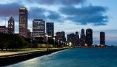 Chicago Skyline And Navy Pier At Dusk