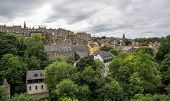 The water of leith walk and houses in Edinburgh, aerial view
