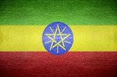 image of ethiopia  - closeup Screen Ethiopia flag concept on leather for background - JPG