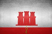 Closeup Screen Gibraltar Flag Concept On Pvc Leather For Background